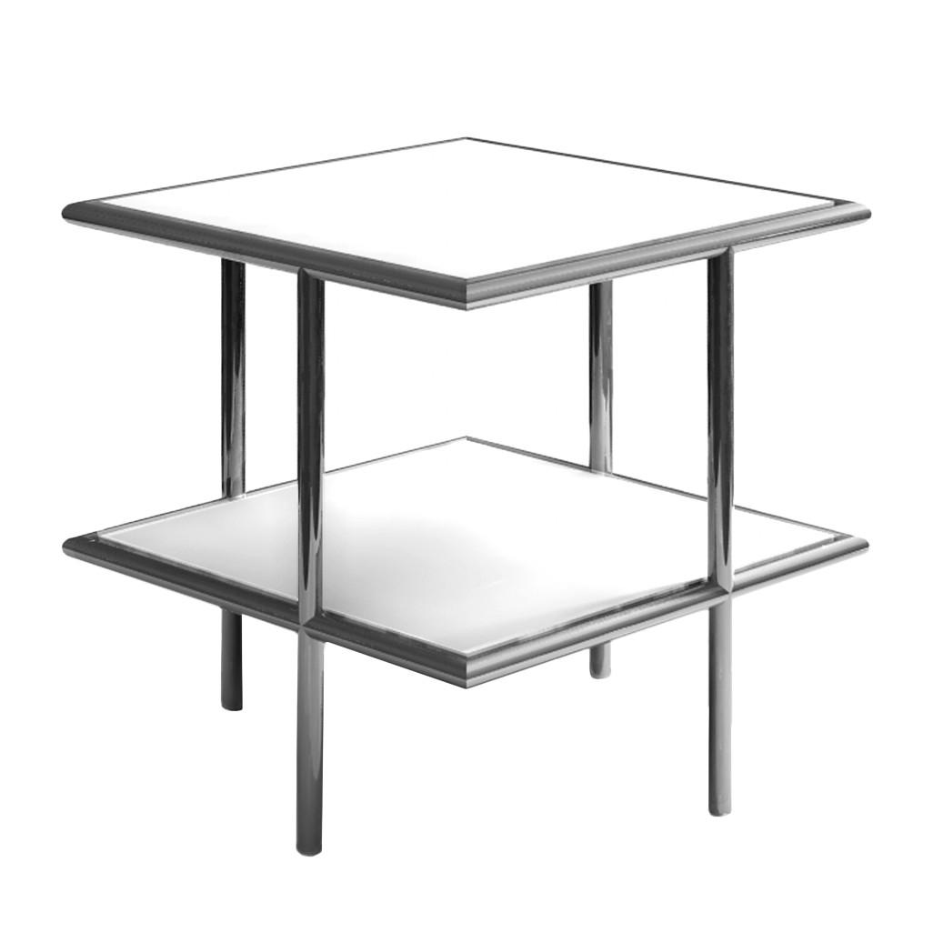 Beistelltisch Aradina – Sicherheitsglas/Edelstahl – Weiß/Silber, Salmerno Design günstig online kaufen