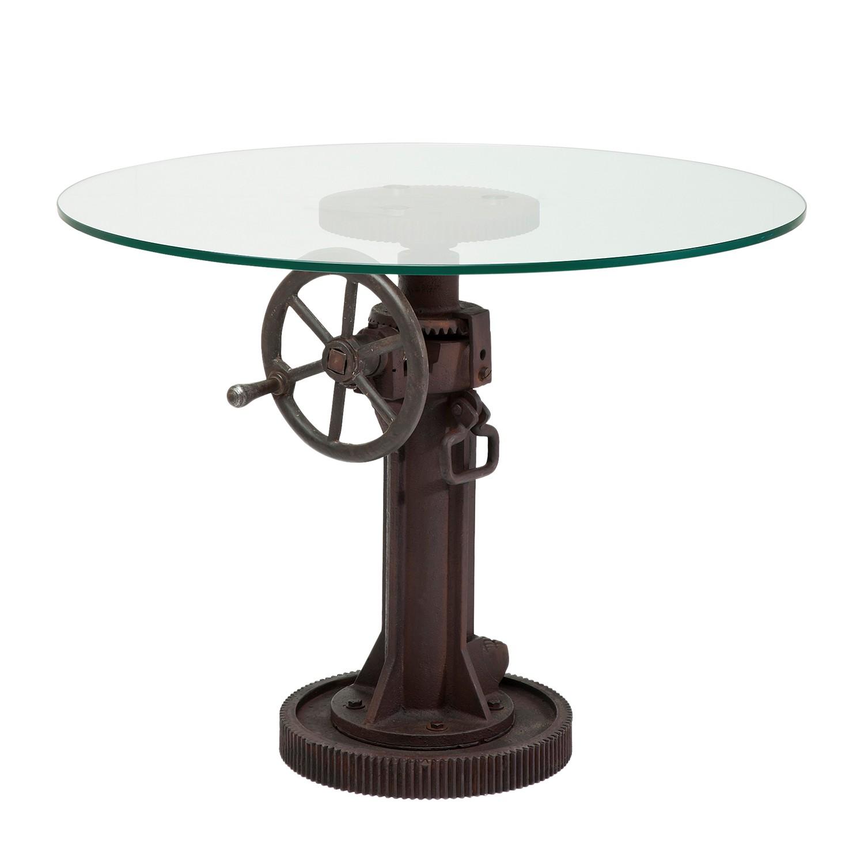 Beistelltisch Crank - Glas / Gußstahl Rostbraun, Kare Design