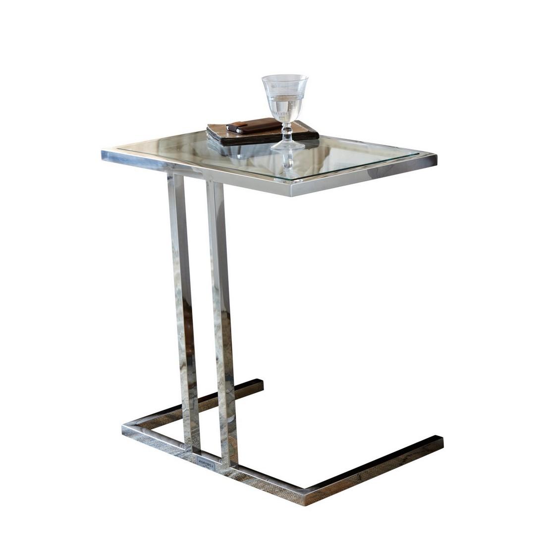 Beistelltisch vito edelstahl glas silber klar loberon online kaufen for Beistelltisch glas edelstahl