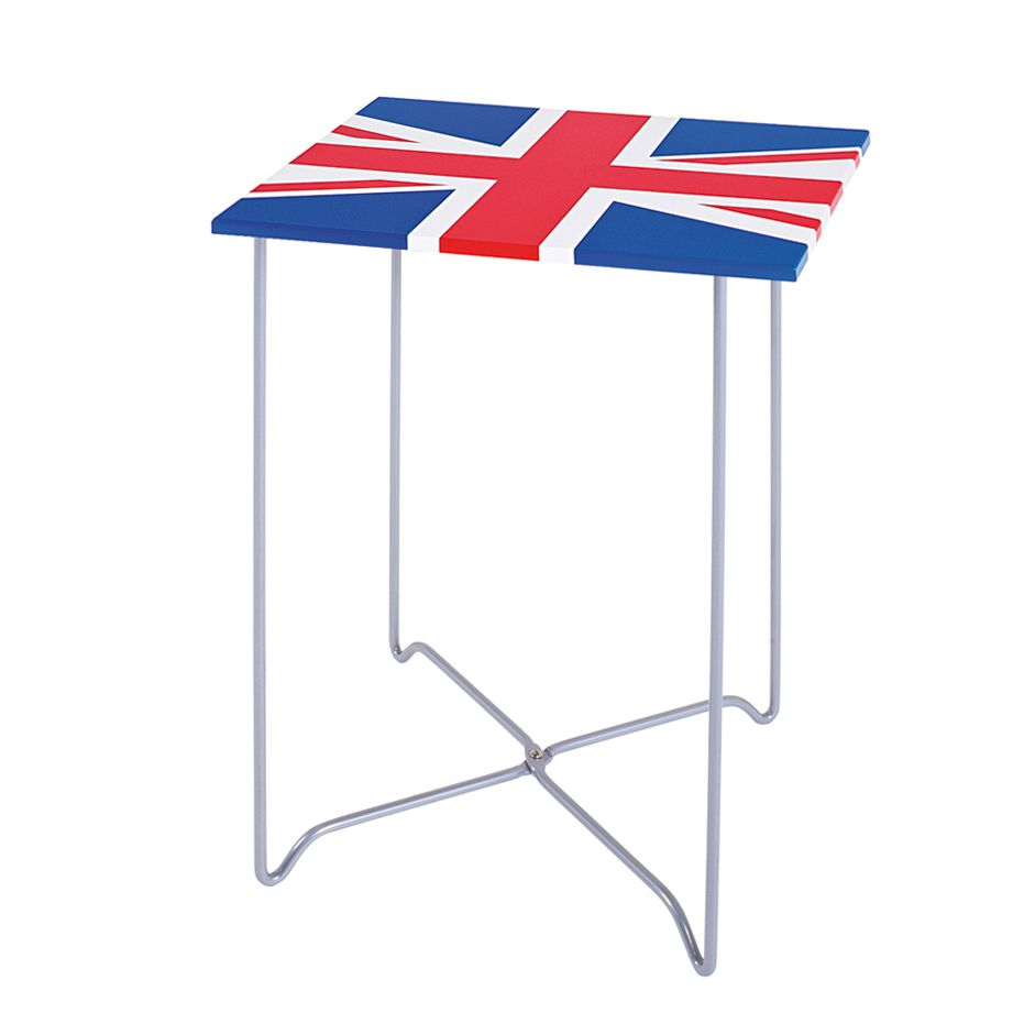 Beistelltisch York – MDF/Metall – Aufdruck Britische Flagge/Alufarbig, Tollhaus bestellen