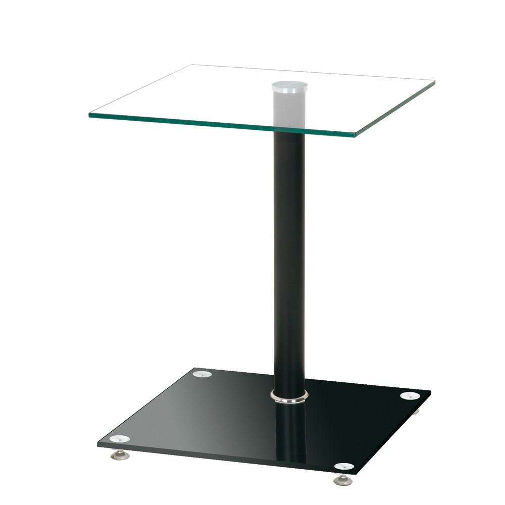 Beistelltisch Zahira – Glas/Metall – Klar/Verchromt & Schwarz lackiert, Tollhaus günstig kaufen