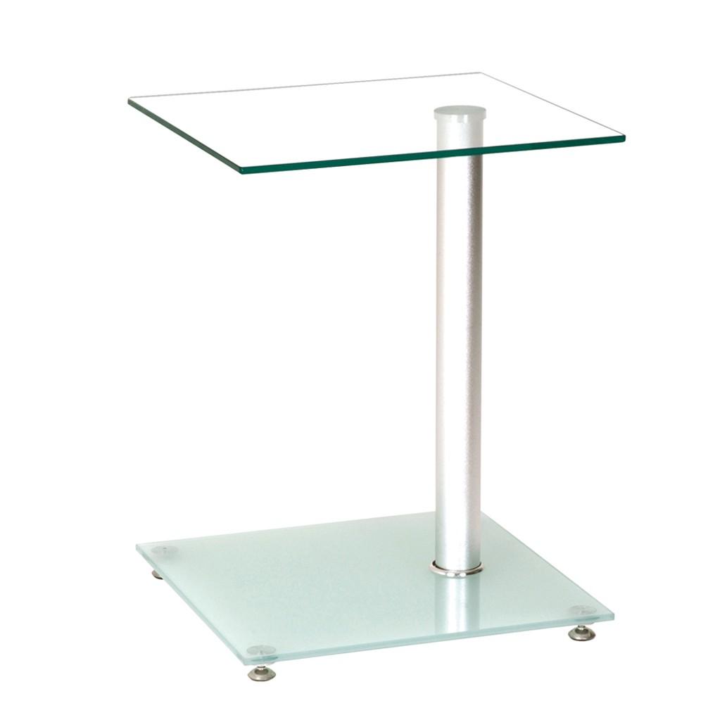 Beistelltisch Zero – Glas/Metall – Klar & Satiniert/Alufarbig, Tollhaus bestellen