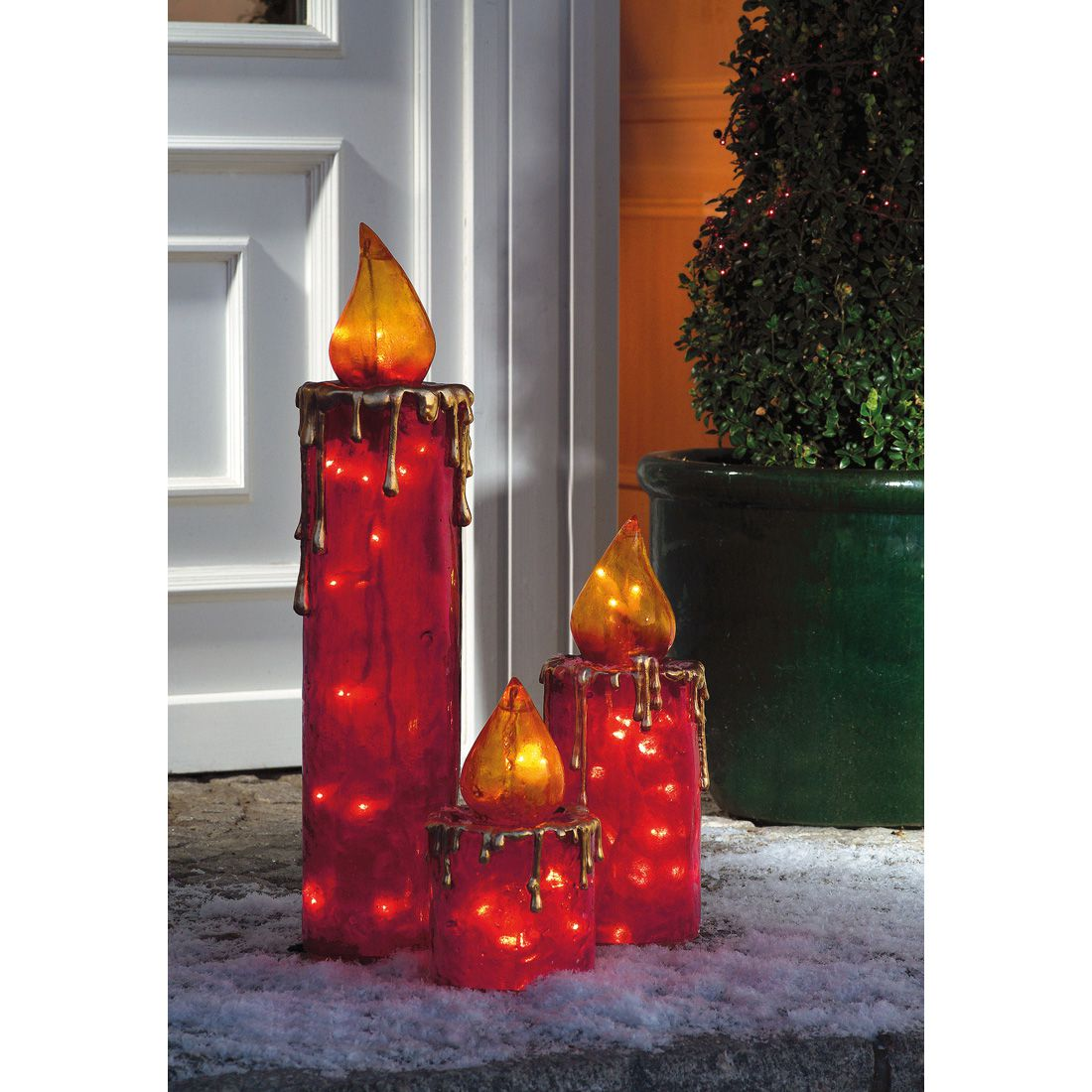 Beleuchtetes Maxi-Kerzen-Set (3-teilig) - Polyresin, Rot, Pure Day