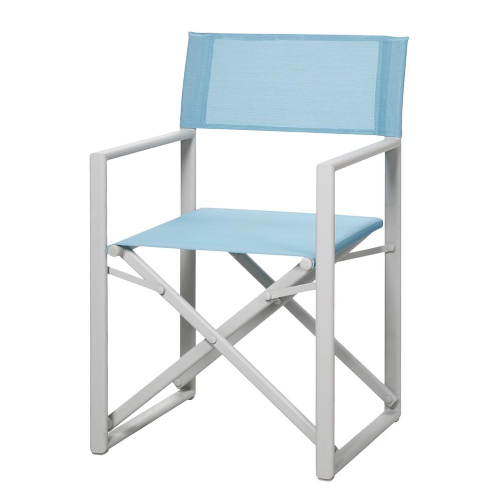 Gartenstuhl Messina - Aluminium/Ergotex - Creme/Hellblau, Best Freizeitmöbel