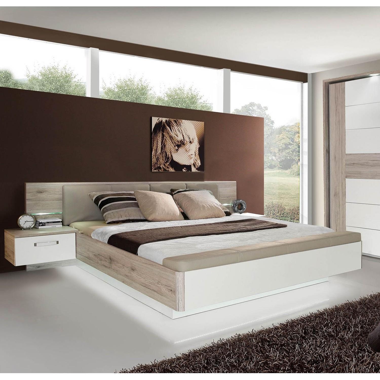 EEK A+, Bettanlage Guise (3-teilig) – Sandeiche Dekor/ Hochglanz Weiß – 160 x 200cm, mooved günstig bestellen
