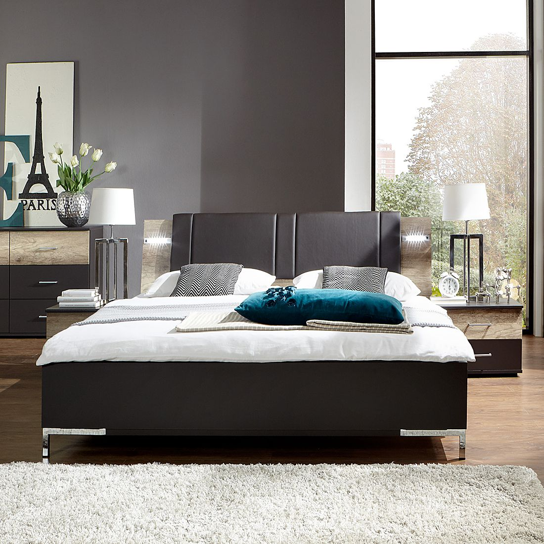 bettanlage manula 3 teilig lava wildeiche dekor liegefl che 180 x 200 cm. Black Bedroom Furniture Sets. Home Design Ideas