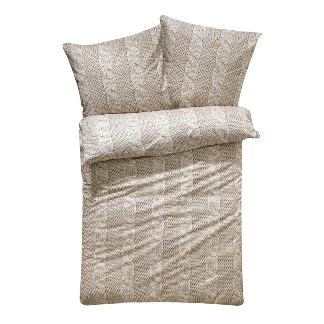 Bettwäsche – Baumwoll-Flanell – Beige – 135 x 200 cm, PureDay kaufen