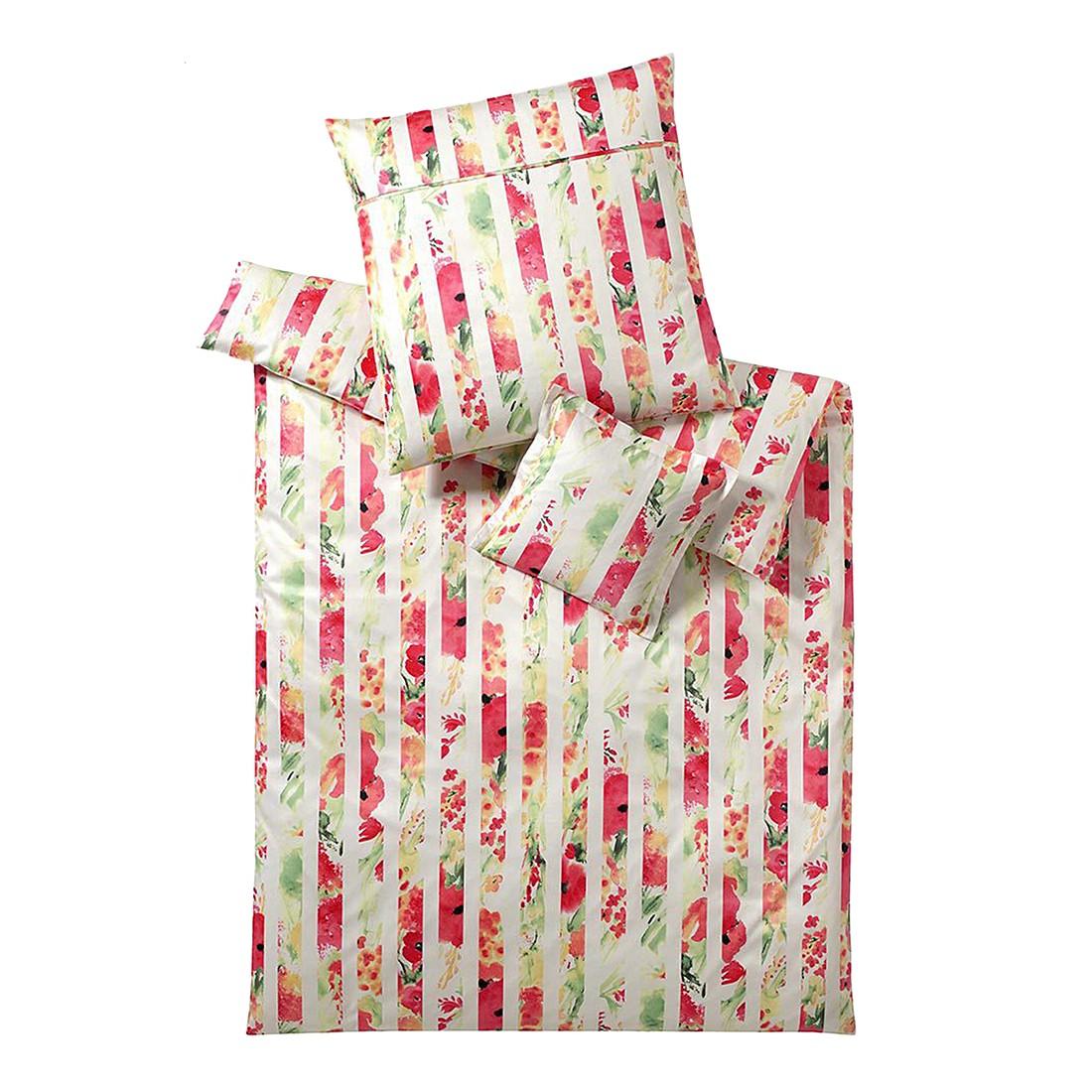 Bettwäsche Cannes Himbeer – Baumwolle – Rot – 155X220 cm + 80X80 cm, elegante jetzt kaufen