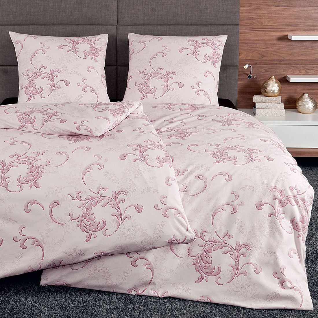bettw sche chinchilla 7604 01 baumwolle pink 135x200 cm 80x80 cm janine kaufen. Black Bedroom Furniture Sets. Home Design Ideas