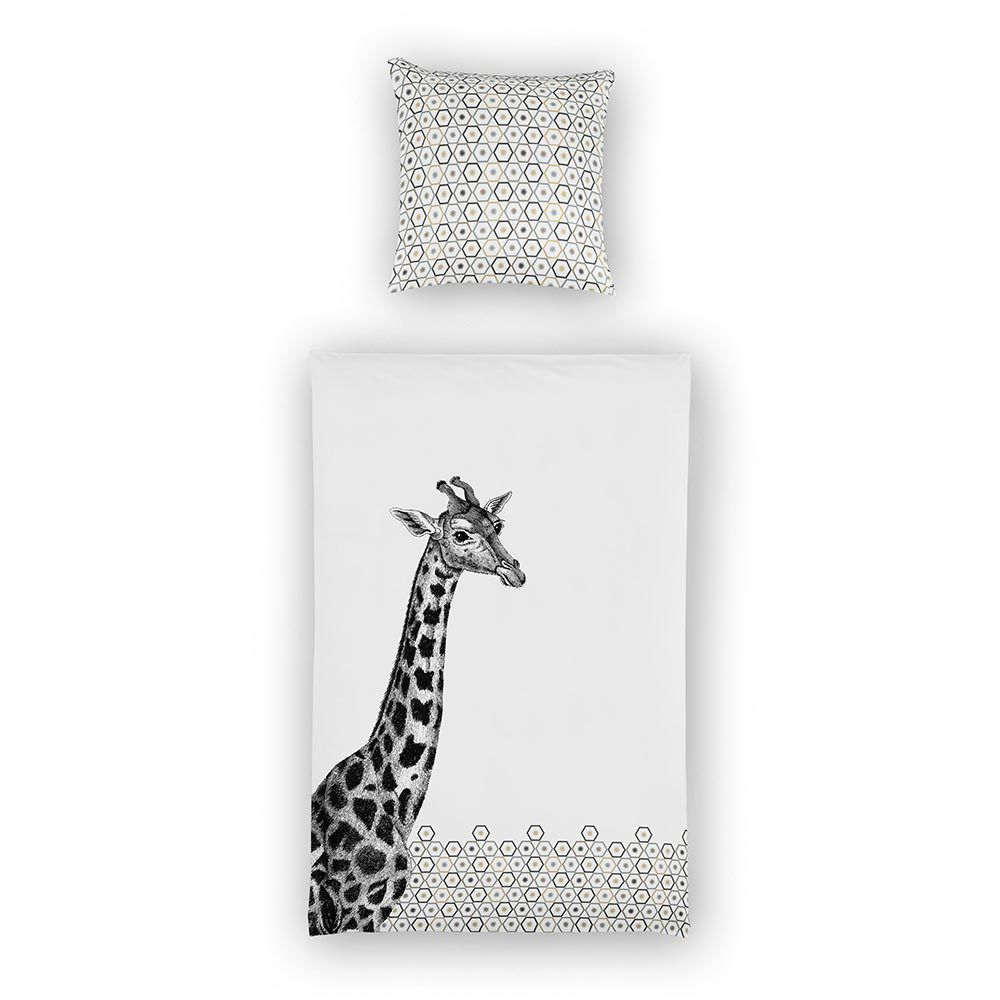 Bettwäsche Giraffe Black Baumwolle Schwarz 135x200 Cm 80x80