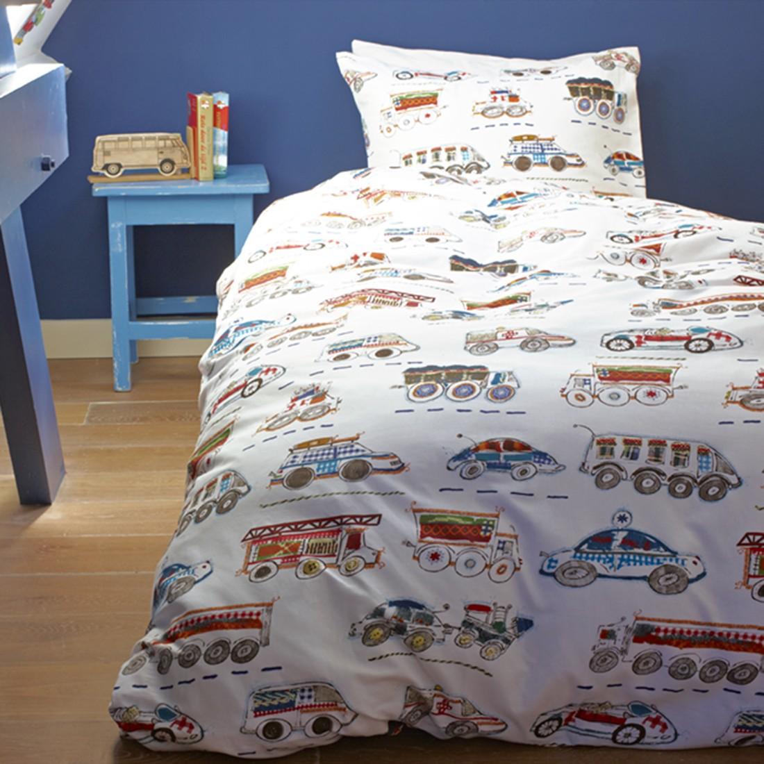 Bettwäsche Kids On the Way Kinder – Blau – Baumwolle – Abmessungen 200x135x38cm, BH jetzt kaufen