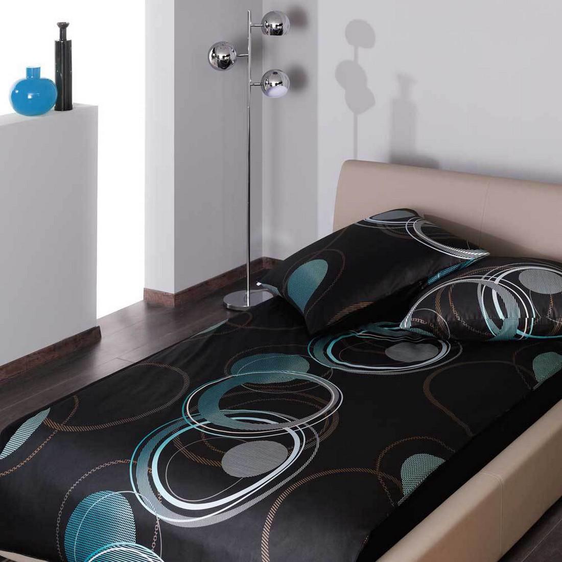 bettw sche leonid t rkis baumwolle schwarz 155x220 cm 80x80 cm estella jetzt kaufen. Black Bedroom Furniture Sets. Home Design Ideas