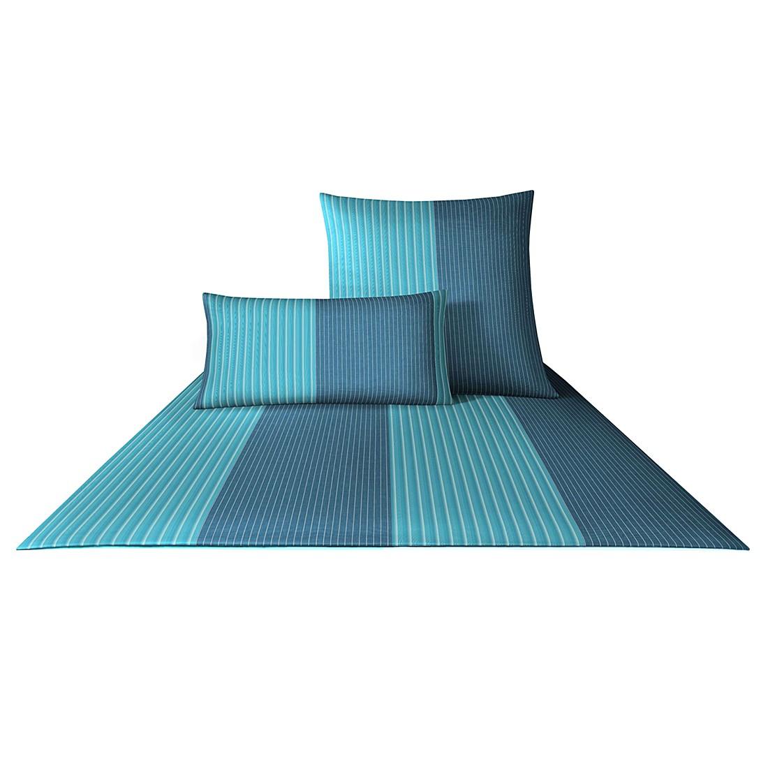 Bettwäsche Mako-Satin Double Stripes 4054 – Baumwolle – Türkis – 80×80 cm – 155×220 cm, Joop bestellen