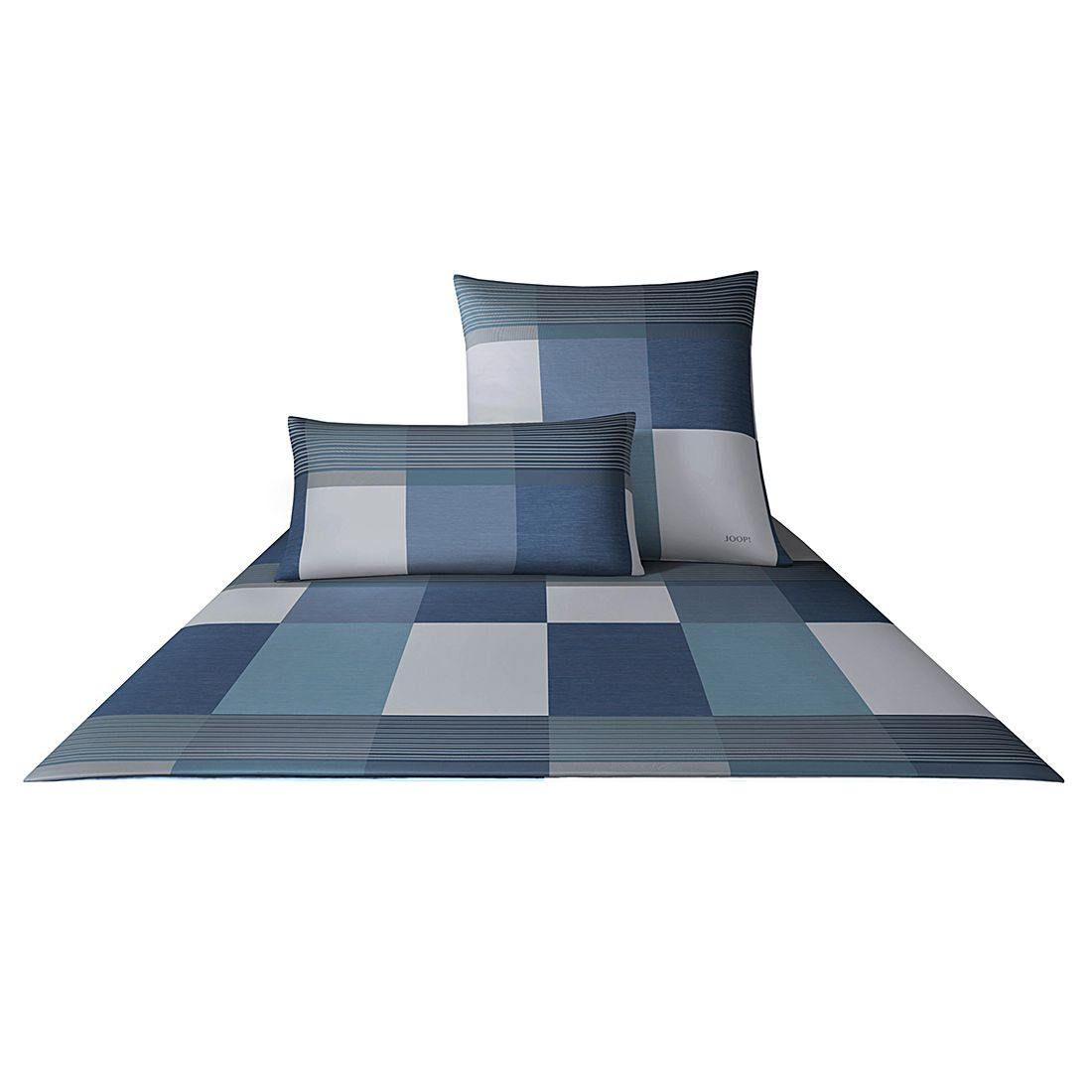Bettwäsche Mako-Satin Plaza Squares 4051 – Baumwolle – Azur – 2x 80×80 cm – 200×200 cm, Joop jetzt kaufen