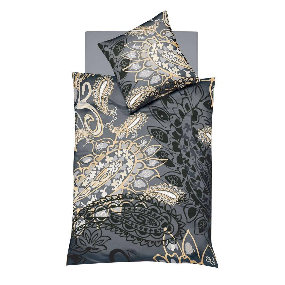 Bettwäsche Milano 113332-07 – Baumwolle – Grau – 155×220 cm + 80×80 cm, Fleuresse günstig