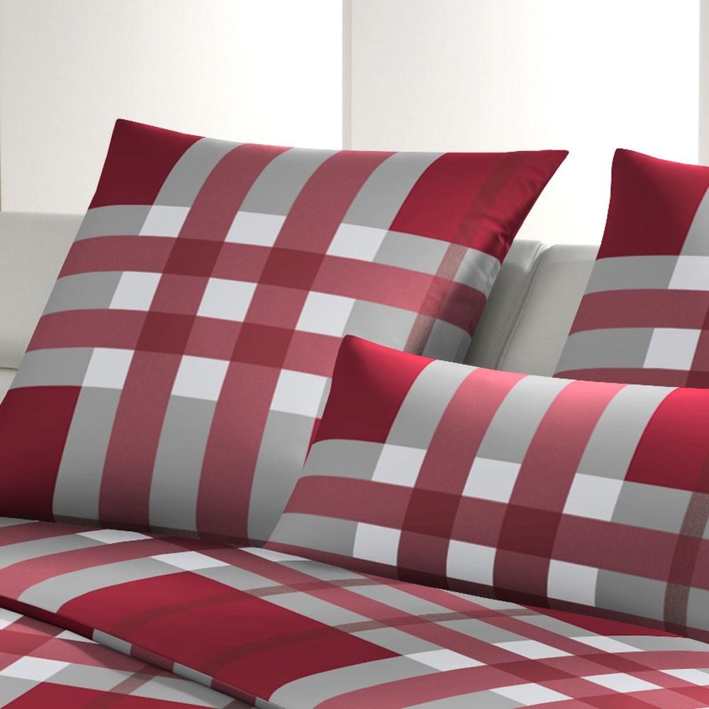 Bettwäsche Noble Squares rubin – 100% Baumwolle – Mehrfarbig – 135 x 200 cm, Joop günstig bestellen