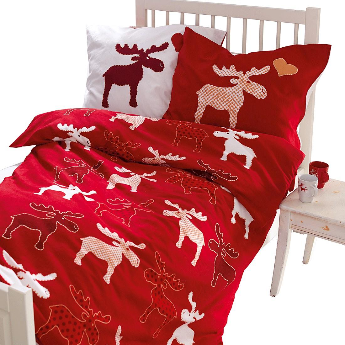 Bettwäsche Norbert – Baumwolle – Rot/Weiß, PureDay online bestellen
