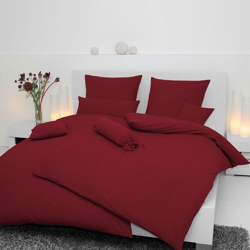 Bettwäsche Piano aus Soft-Seersucker dunkelRot – 100% Baumwolle – Rot – 40 x 40 cm, Janine jetzt kaufen
