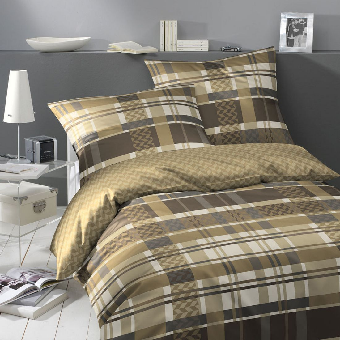 bettw sche santani goldbraun baumwolle mehrfarbig 155x220 cm 80x80 cm yes for bed. Black Bedroom Furniture Sets. Home Design Ideas