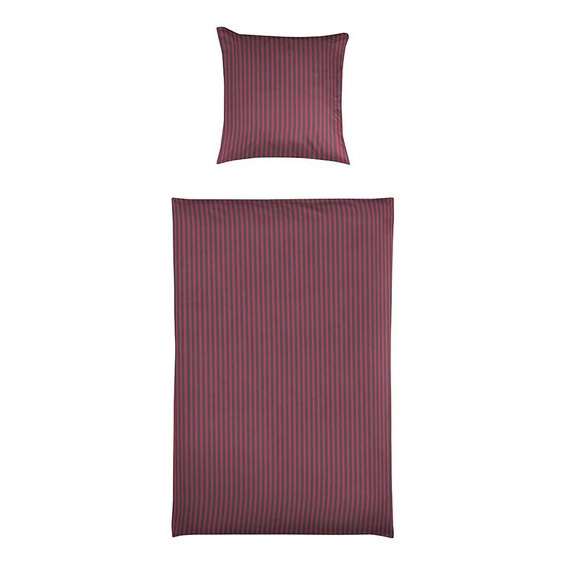 Bettwäsche Small Stripe Rubinrot – Baumwolle – Mehrfarbig – 135X200 cm + 80X80 cm, Yes for bed jetzt kaufen