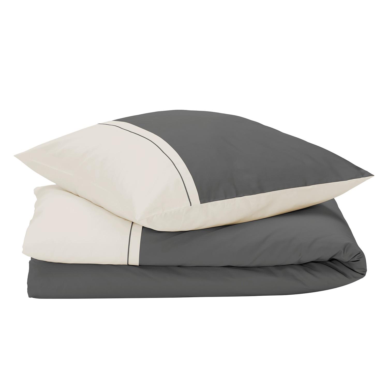 bettw sche sogno anthrazit beige 200x200 2x 80x80 bettbezug bettbez ge bett ebay. Black Bedroom Furniture Sets. Home Design Ideas