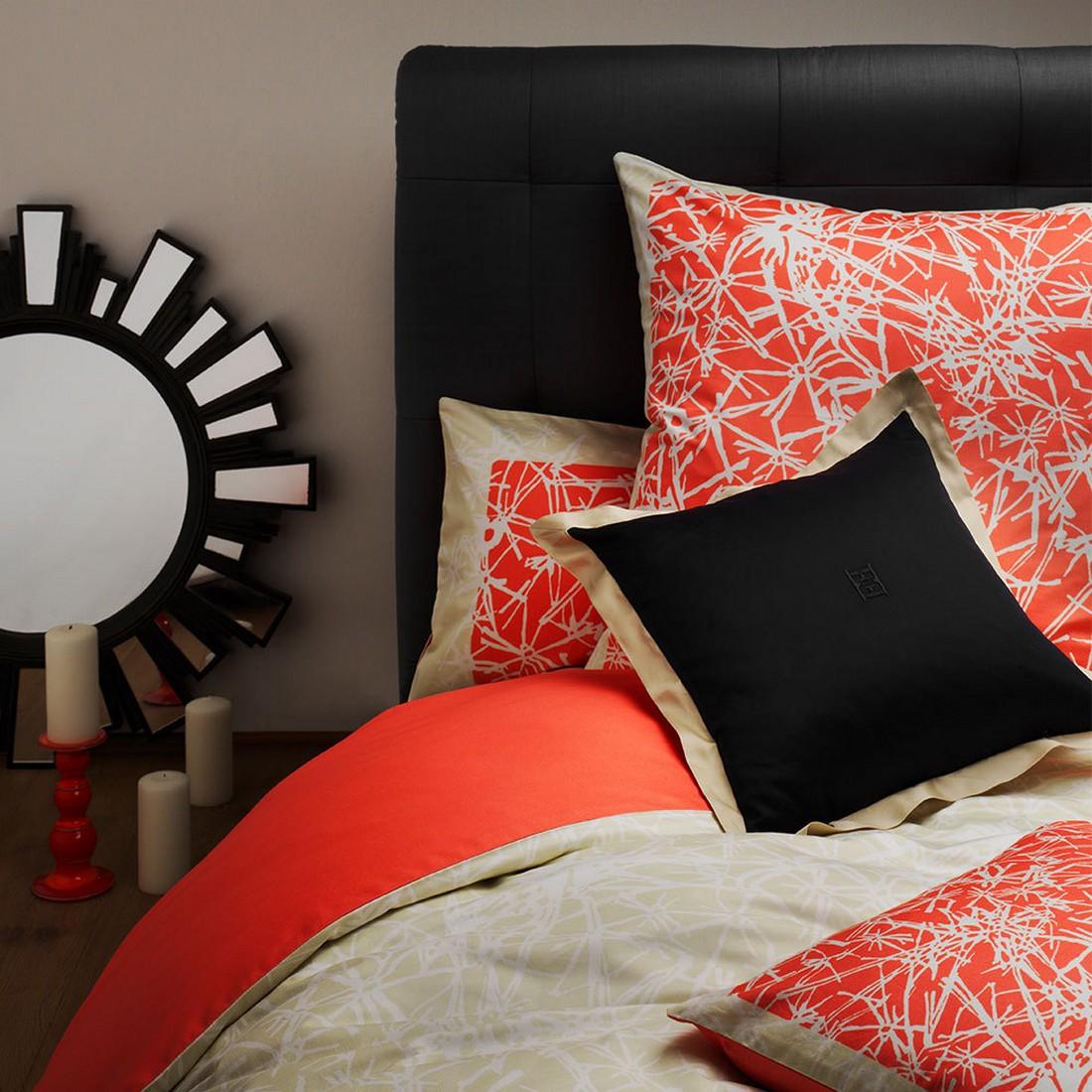 Bettwäsche – Stars – Mako-Satin/Baumwolle – Orange – Kissenbezug einzeln 40×40 cm, Escada bestellen