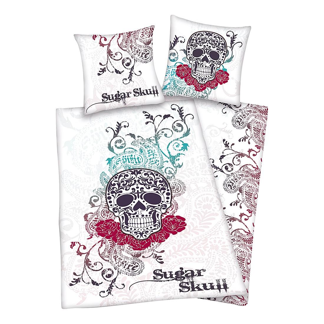 Bettwäsche Sugar Skulls – Microfaser/Weiß, Herding kaufen