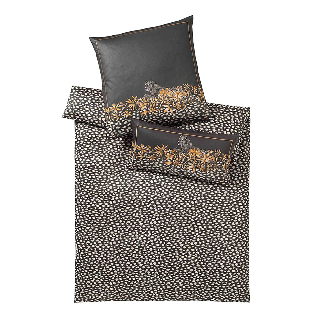 Bettwäsche Wildcat Ebenholz – Baumwolle – Grau – 155X220 cm + 80X80 cm, elegante günstig