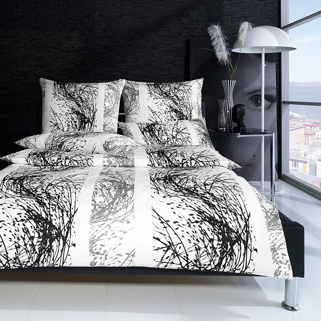 bettw sche l we black baumwolle schwarz 135x200 cm 80x80 cm yes for bed g nstig bestellen. Black Bedroom Furniture Sets. Home Design Ideas