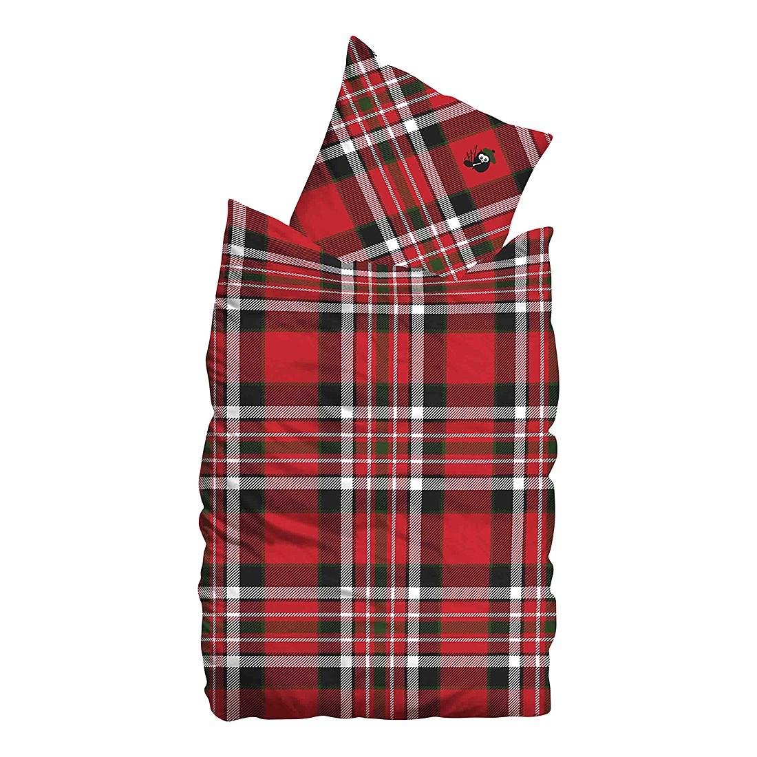 Biber Bettwäsche Scot – Rot – 155 x 220 cm + Kissen 80 x 80 cm, Sueños günstig kaufen
