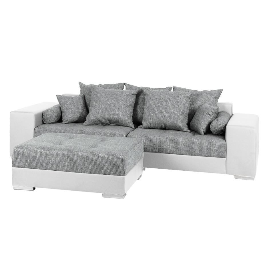 bigsofa aaron kunstleder wei strukturstoff wei grau. Black Bedroom Furniture Sets. Home Design Ideas