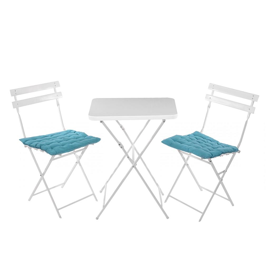 Gartengarnitur Genk – Weiß – Tisch Fläche – Kissen türkis, Mendler online bestellen