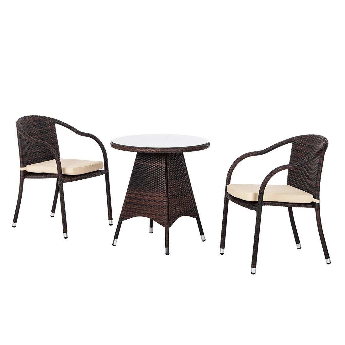 Bistroset Paradise Lounge I (3-teilig) - Polyrattan Braun, Kings Garden