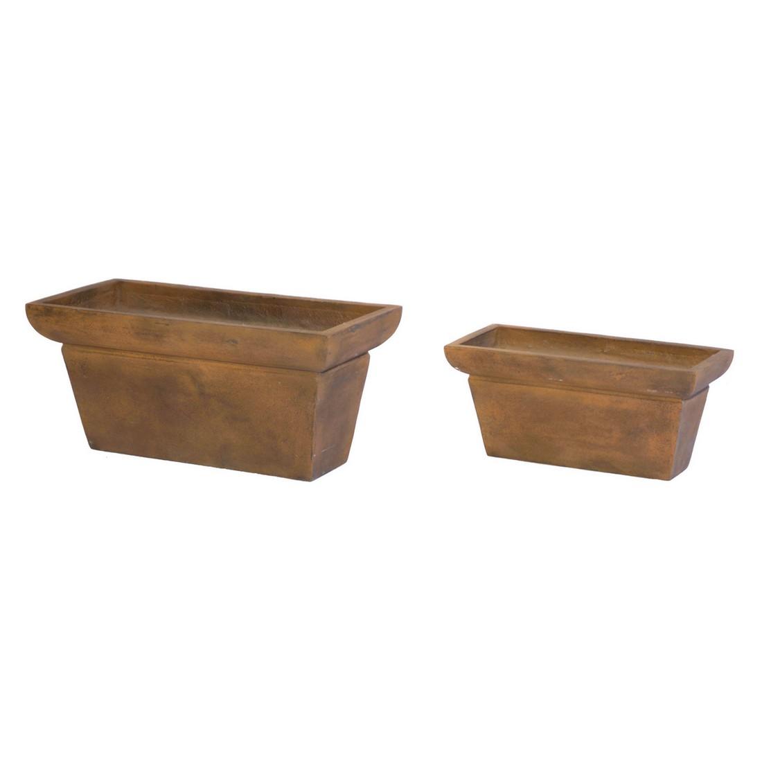 Blumenkasten Rusty Iron – Kunststoff – Desgin Eckig – Länge: 60 cm Breit: 27 cm Höhe: 27 cm (einzeln), Viducci's Garden kaufen