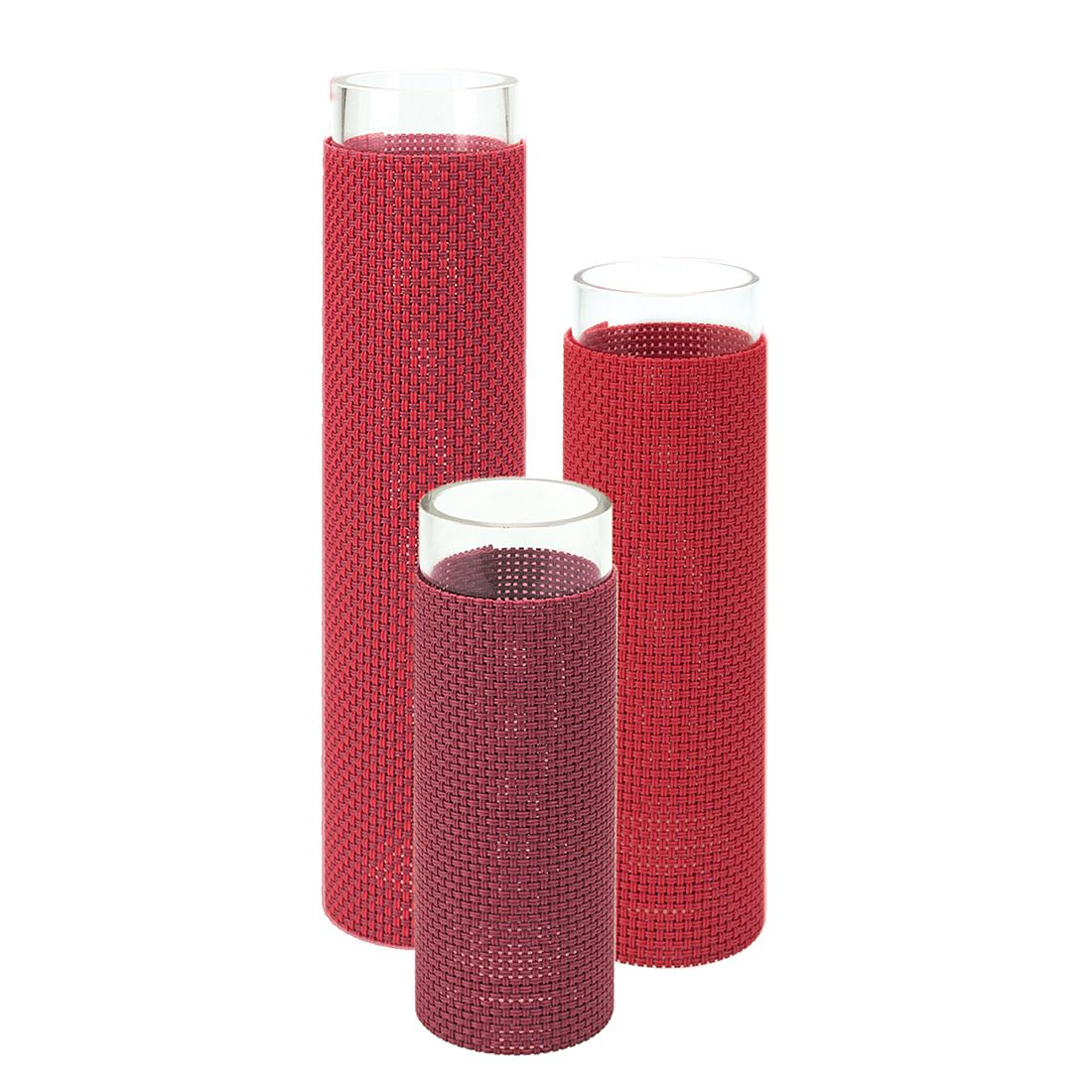 Blumenvase Florah (3er-Set) – Klarglas/Kunststoff Rot, Contento günstig bestellen