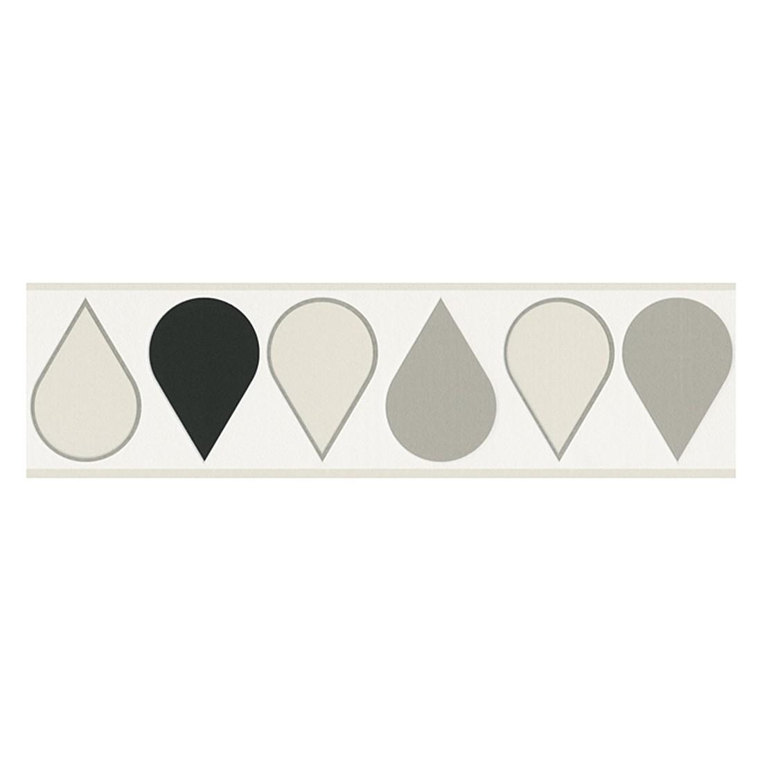 Bordüre Drop – weiß, schwarz, seidengrau, perlweiß – glatt, fein strukturiert, Raffi online bestellen