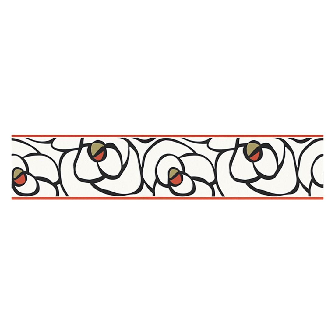 Bordüre Rose – weiß, schwarz, grünbraun, korallenrot – strukturiert, Raffi günstig kaufen