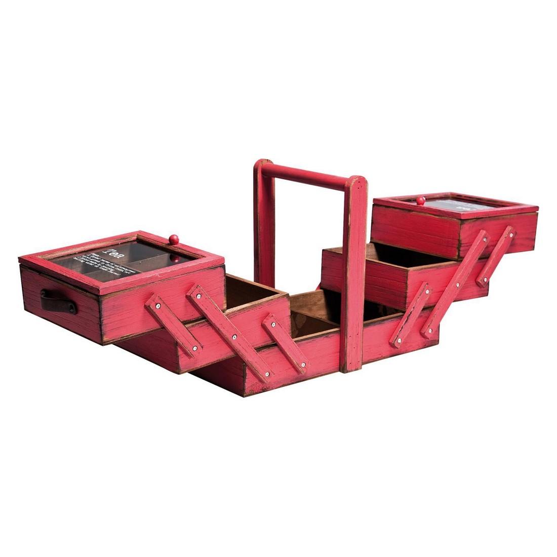 Box Loft Kitchen Tea Red – Blauglockenbaumholz gebeizt und lackiert Rot, Kare Design kaufen