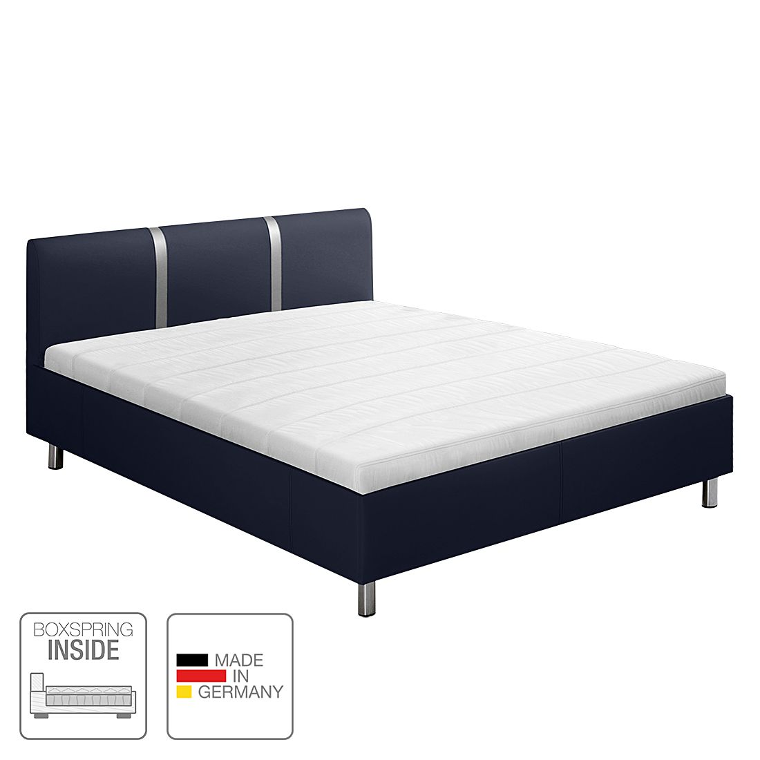 boxspring inside bett caya kunstleder 160 x 200cm h2 bis 80 kg bonellfederkernmatratze. Black Bedroom Furniture Sets. Home Design Ideas