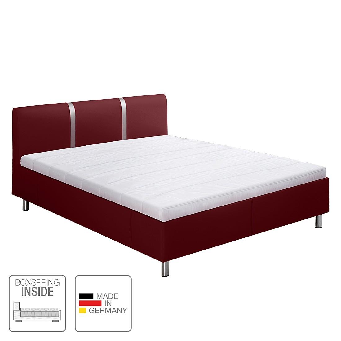 Boxspring-Inside-Bett Caya - Kunstleder - 180 x 200cm - H4 ab 100 kg - Tonnentaschenfederkernmatratze - starrer Lattenrost mit 19 Federholzleisten - Rot, Nova Dream Sleepline