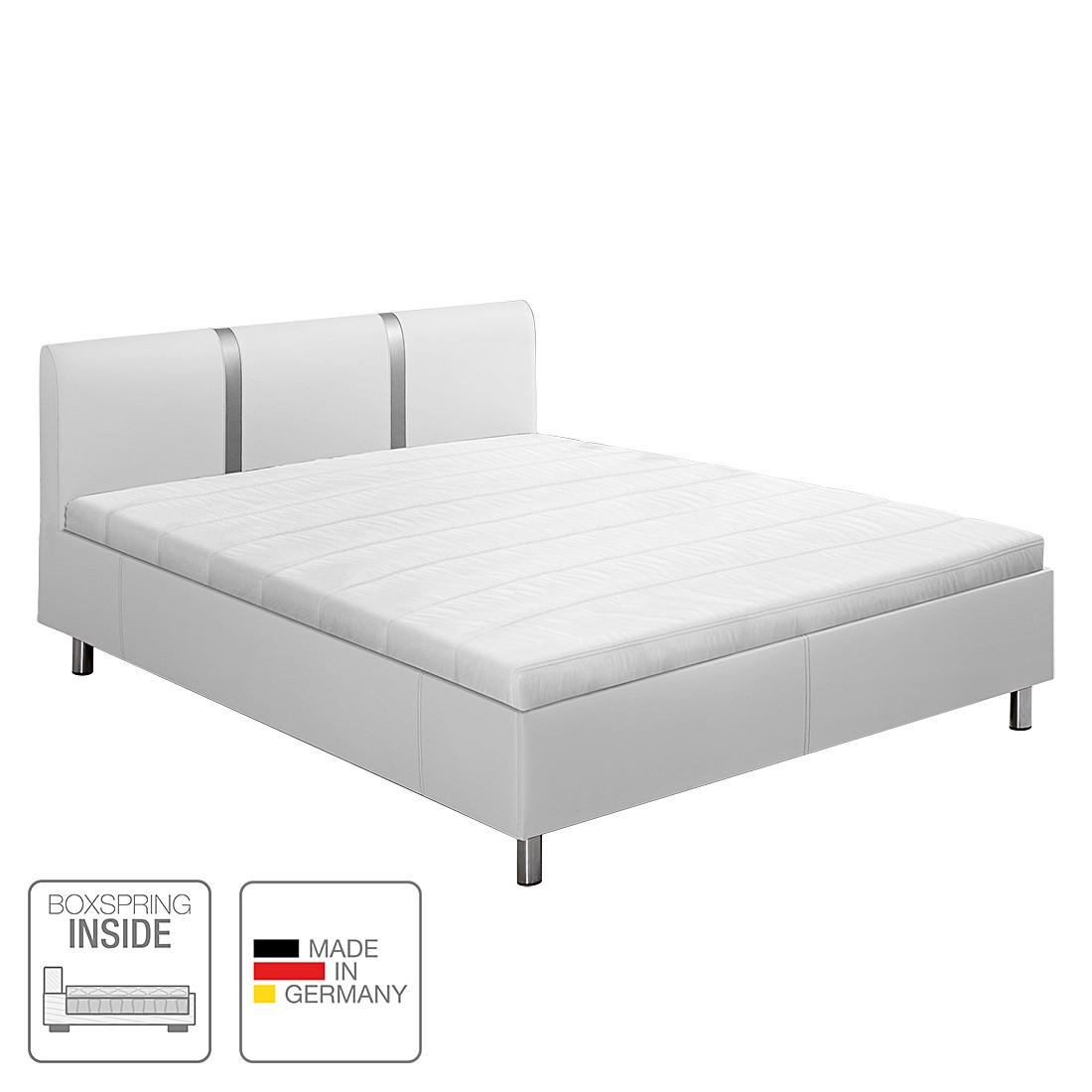 Boxspring-Inside-Bett Caya - Kunstleder - 180 x 200cm - H4 ab 100 kg - Tonnentaschenfederkernmatratze - starrer Lattenrost mit 19 Federholzleisten - Weiß, Nova Dream Sleepline