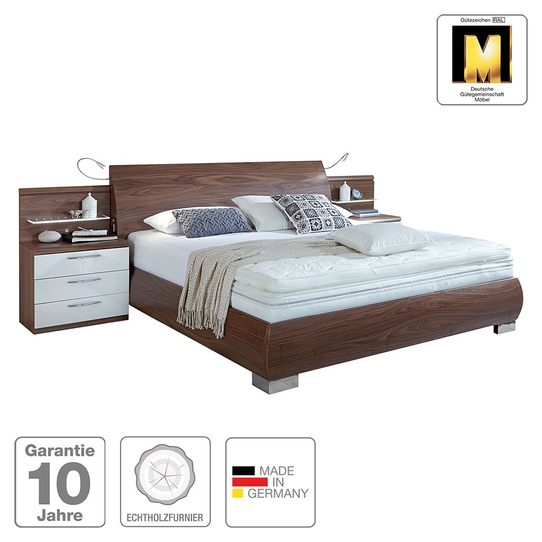 eek a boxspring inside bett corusline walnuss wei 180 x 200 cm ohne matratze ohne. Black Bedroom Furniture Sets. Home Design Ideas