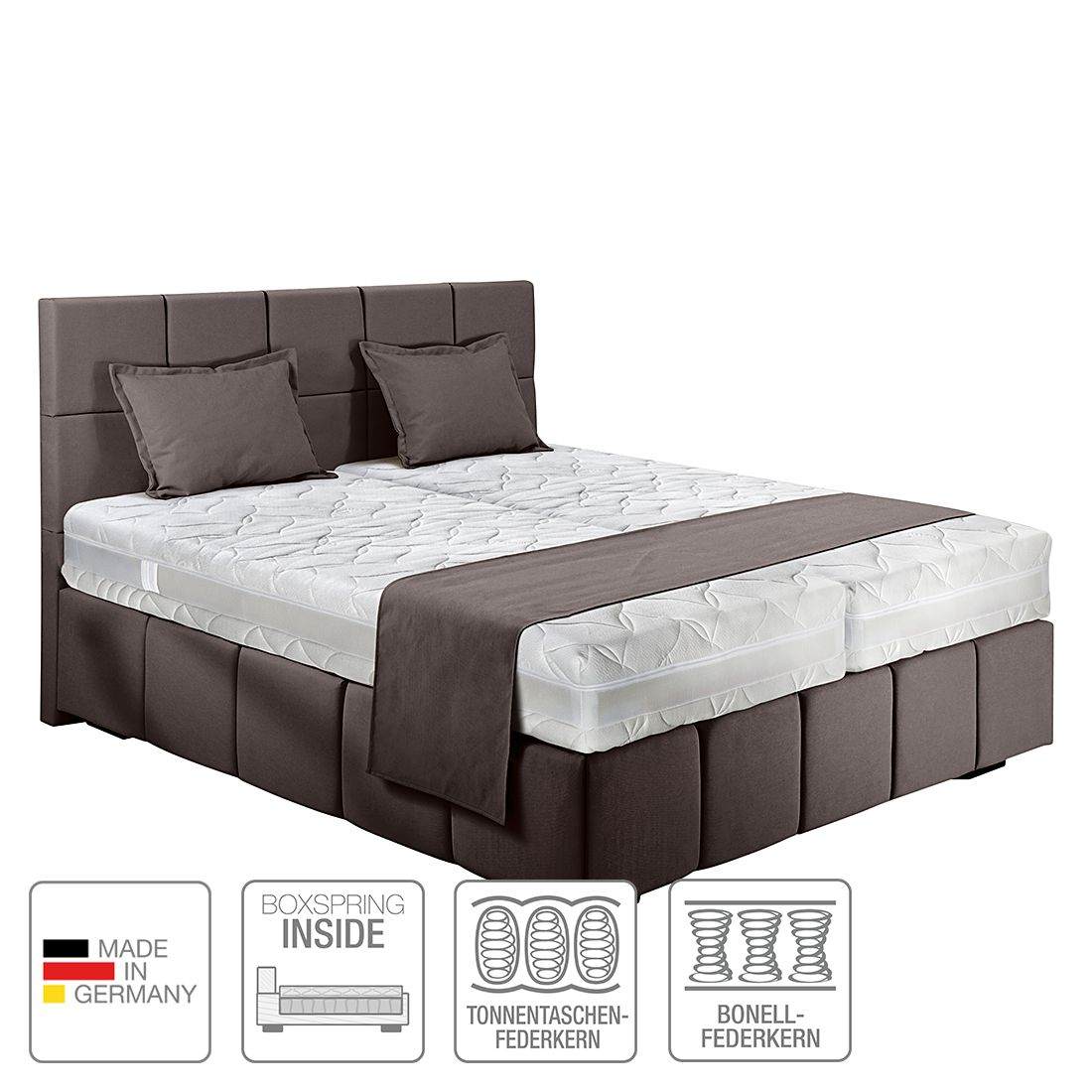 boxspring inside bett olena webstoff 160 x 200cm h3 ab 80 kg dunkelgrau nova dream. Black Bedroom Furniture Sets. Home Design Ideas