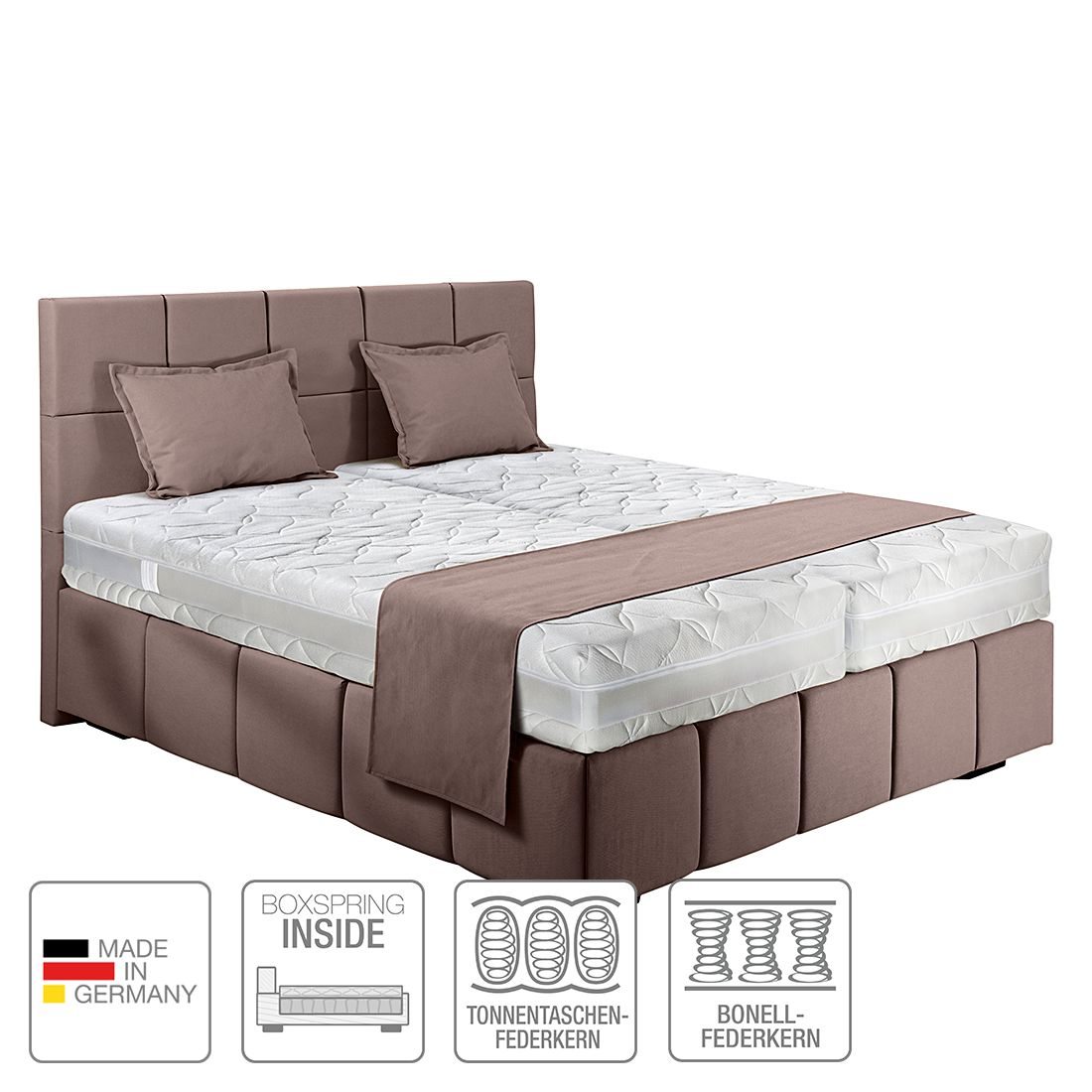 Boxspring-Inside-Bett Olena – Webstoff – 180 x 200cm – H4 ab 100 kg – Schlamm, Nova Dream Sleepline jetzt kaufen
