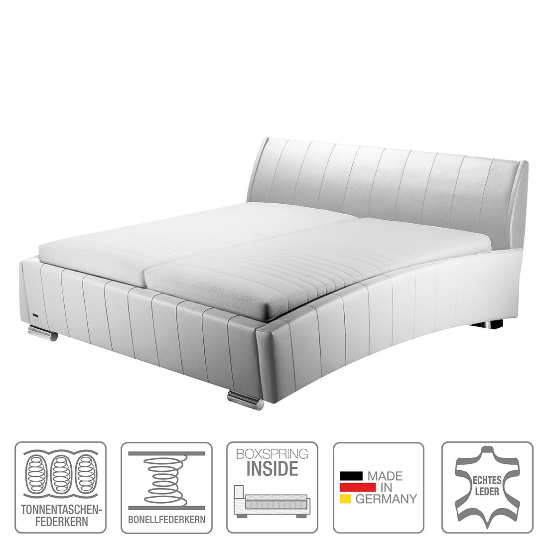 boxspring inside bett sarino echtleder 160 x 200cm h3 ab 80 kg. Black Bedroom Furniture Sets. Home Design Ideas