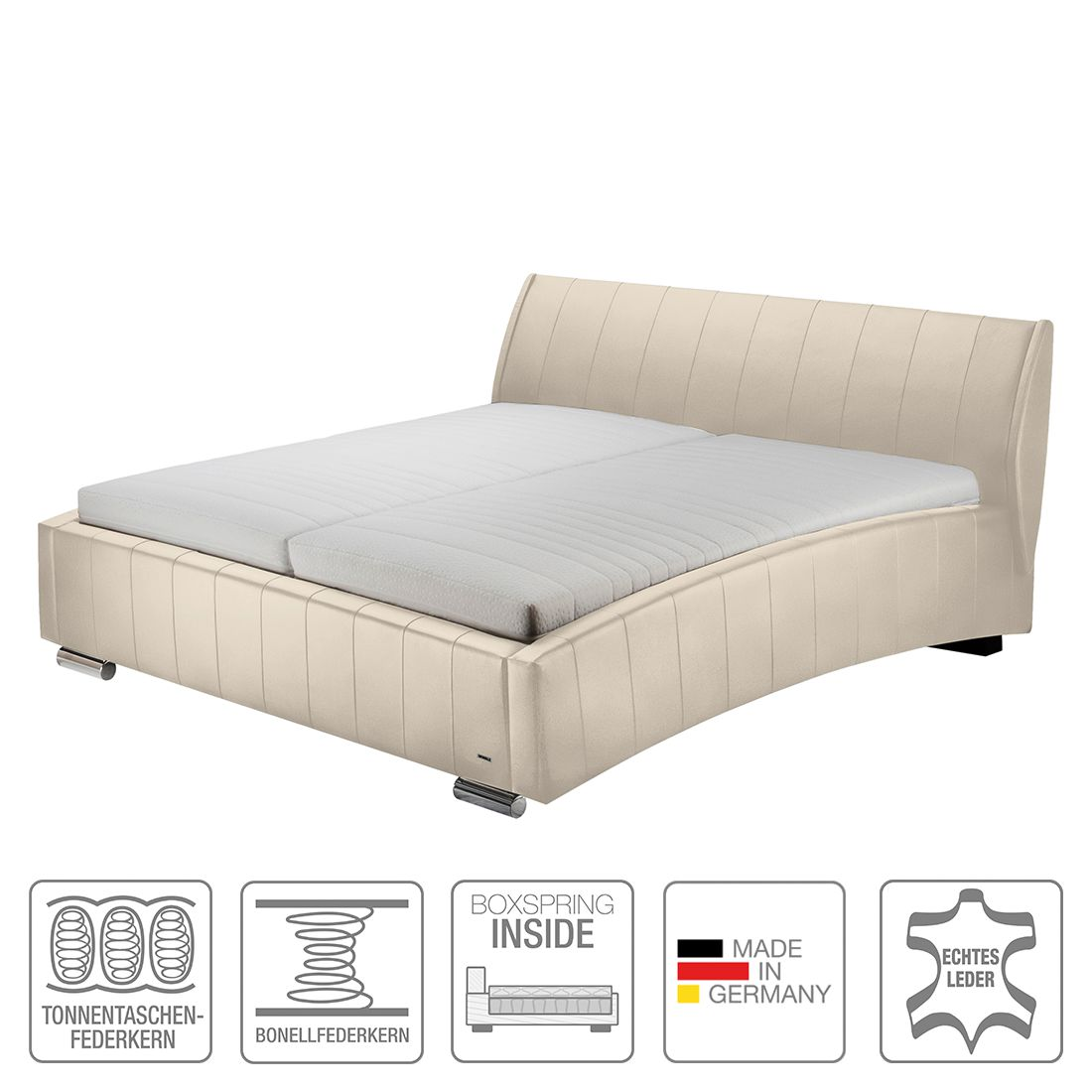 boxspring inside bett sarino echtleder 180 x 200cm h2 bis 80 kg. Black Bedroom Furniture Sets. Home Design Ideas