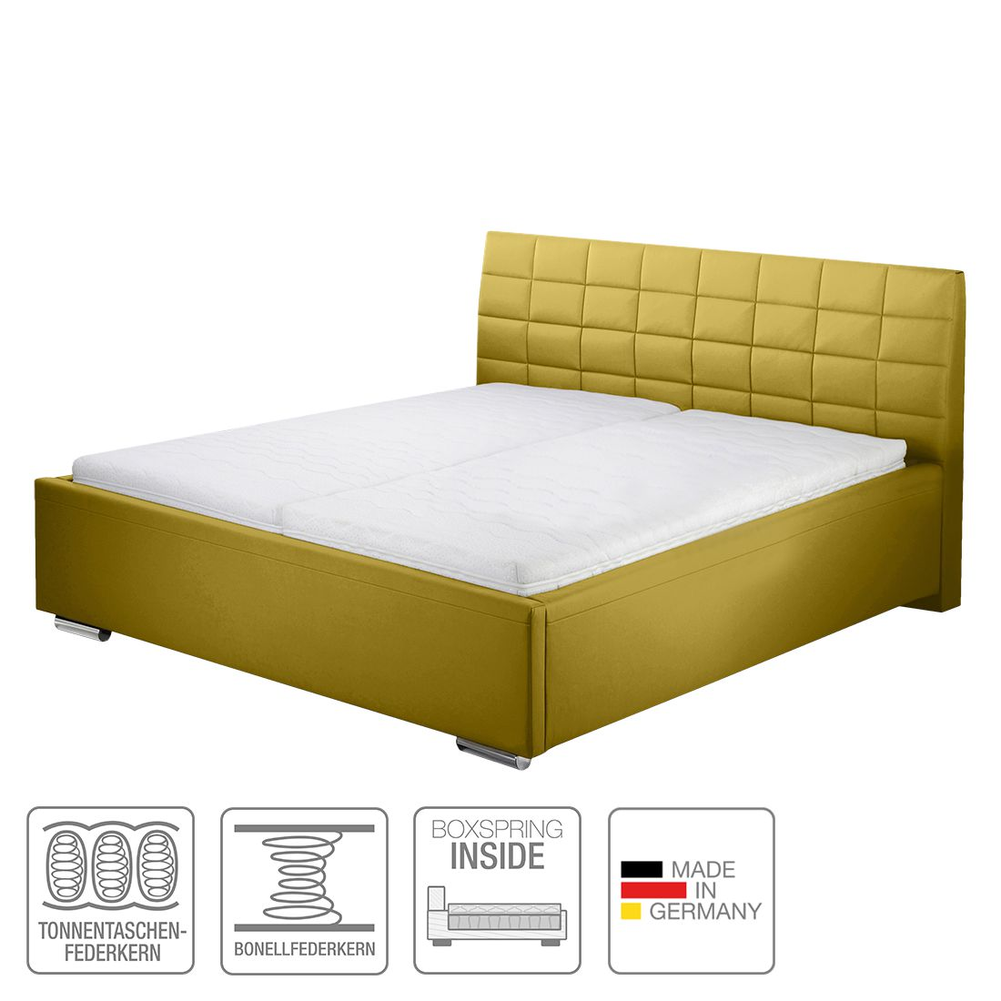 boxspring inside bett victoria kunstleder 140 x 200cm h2 bis 80 kg. Black Bedroom Furniture Sets. Home Design Ideas
