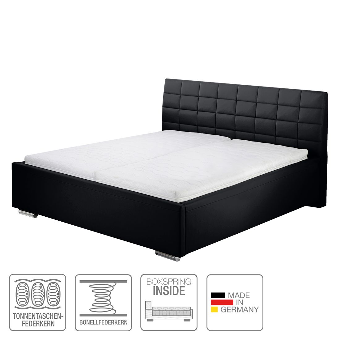 boxspring inside bett victoria kunstleder 160 x 200cm. Black Bedroom Furniture Sets. Home Design Ideas