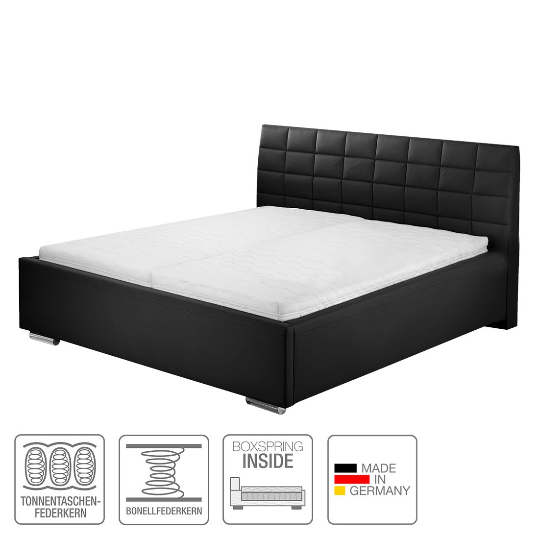 boxspring inside bett victoria kunstleder 160 x 200cm h3 ab 80 kg. Black Bedroom Furniture Sets. Home Design Ideas