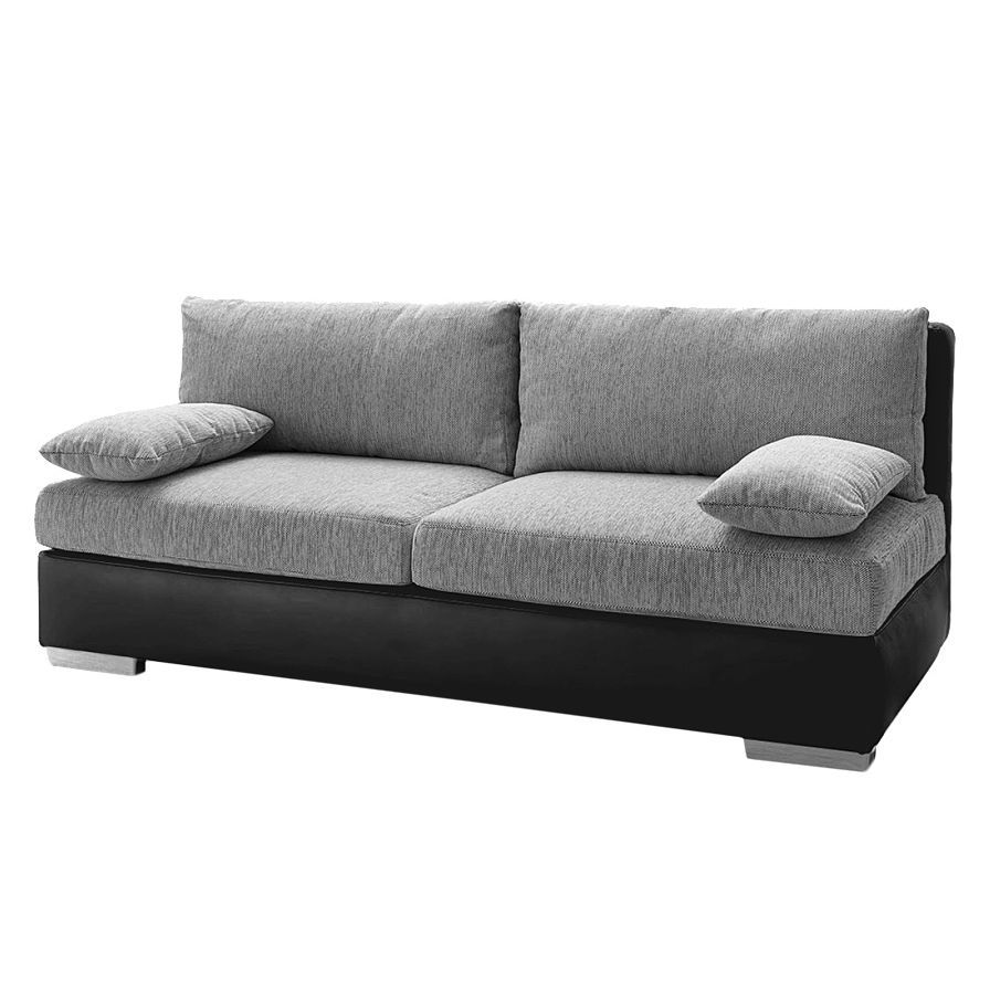boxspring schlafsofa luvia kunstleder strukturstoff wei hellgrau ebay. Black Bedroom Furniture Sets. Home Design Ideas